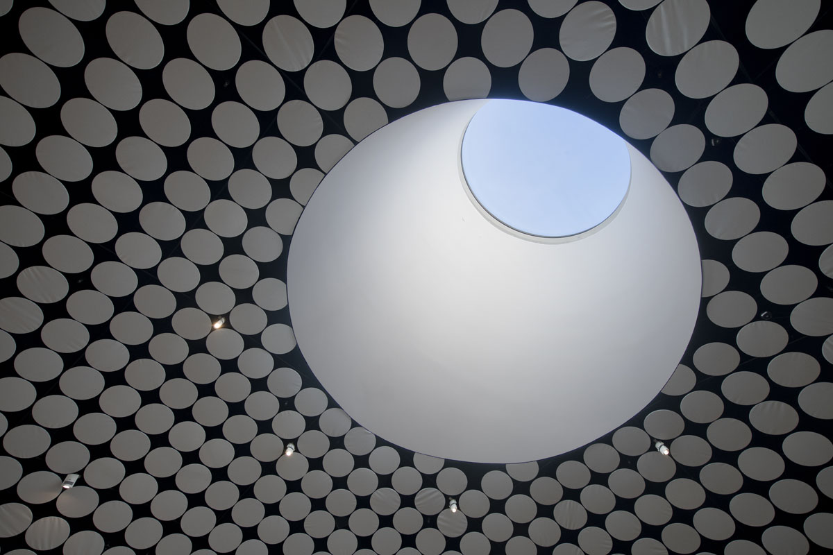 Museon näyttelytiloissa on paljettikatto, joka on syntynyt kangasverhoilluista metallikiekoista. Niitä on katoissa lähes 9000. Paljetit katkevät taakseen näyttely- ja talotekniikkaa sekä akustoinnin. Kattoikkuna löytyy taidetyöpajatilasta, joka on pääaulassa ensimmäisenä oikeana. Osallistuminen ja tekeminen on tärkeä osa Amos Rexin uudenlaista museokonseptia.