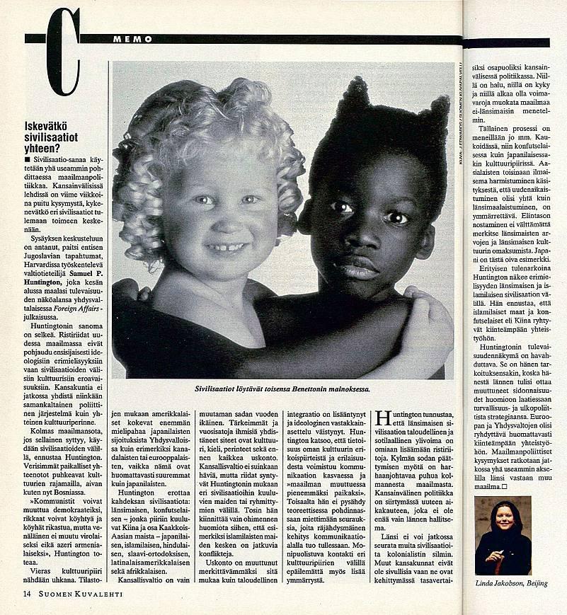 """SK 32/1993 (13.8.1993) Linda Jakobson: """"Iskevätkö sivilisaatiot yhteen?"""""""
