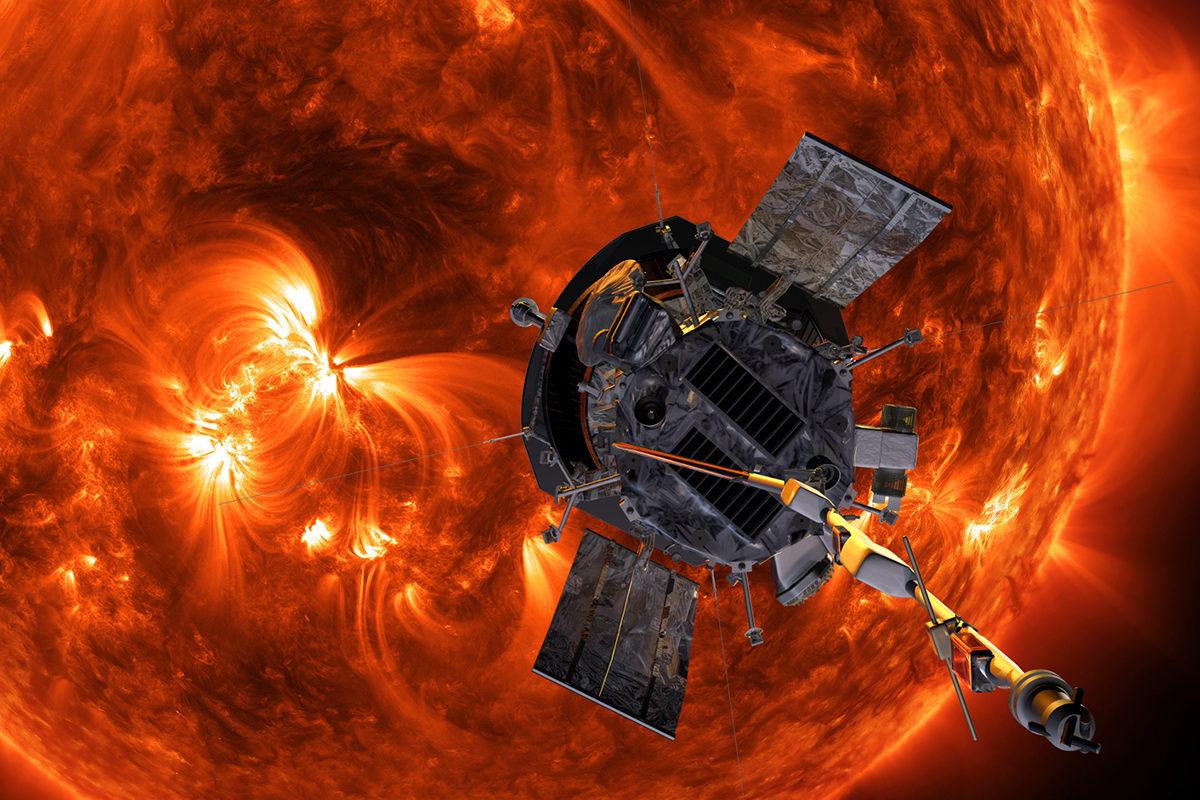 Kuvittajan näkemys Aurinkoa kiertävästä Parker-luotaimesta.