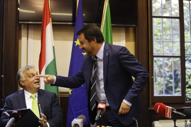 Unkarin pääministeri Viktor Orbán (vas.) ja Italian sisäministeri Matteo Salvini tapasivat Milanossa 28. elokuuta 2018.