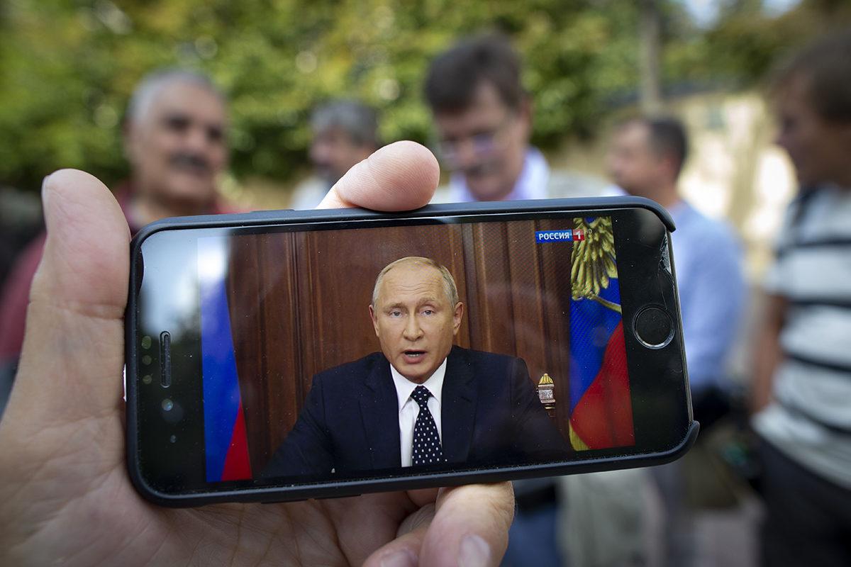 Putin piti televisiopuheen eläkeuudistuksesta 29. elokuuta 2018.