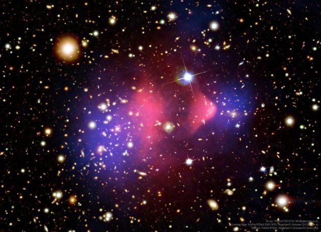 Kahden galaksijoukon kolari antaa vinkkejä pimeän aineen (merkitty sinisellä) olemassaolosta.