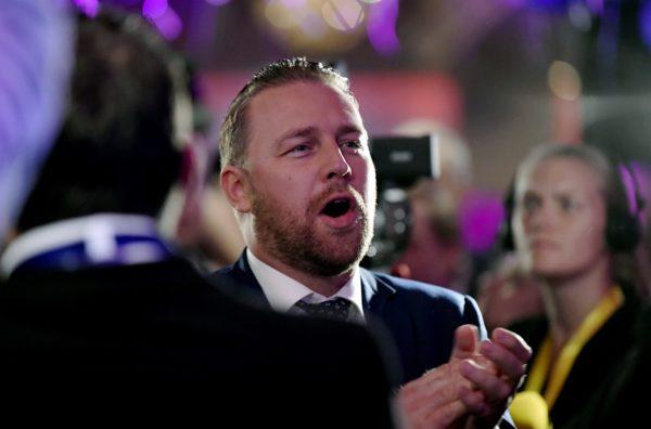 LKS 20180909 Ruotsidemokraattien Mattias Karlsson osallistui ruotsidemokraattien vaalivalvojaisiin Tukholmassa, Ruotsissa, 9. syyskuuta 2018. ... Mattias Karlsson takes part to the election night rally of Sweden Democrats in Stockholm, Sweden, on 9th Sept. 2018. Sweden's general election take place on September 9, 2018. LEHTIKUVA / ANTTI AIMO-KOIVISTO