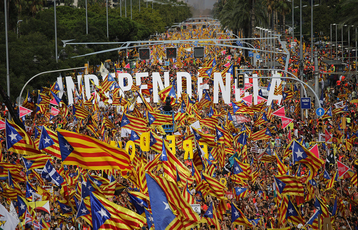 Itsenäisyyden kannattajat osoittivat mieltään Katalonian kansallispäivänä 11. syyskuuta 2018.