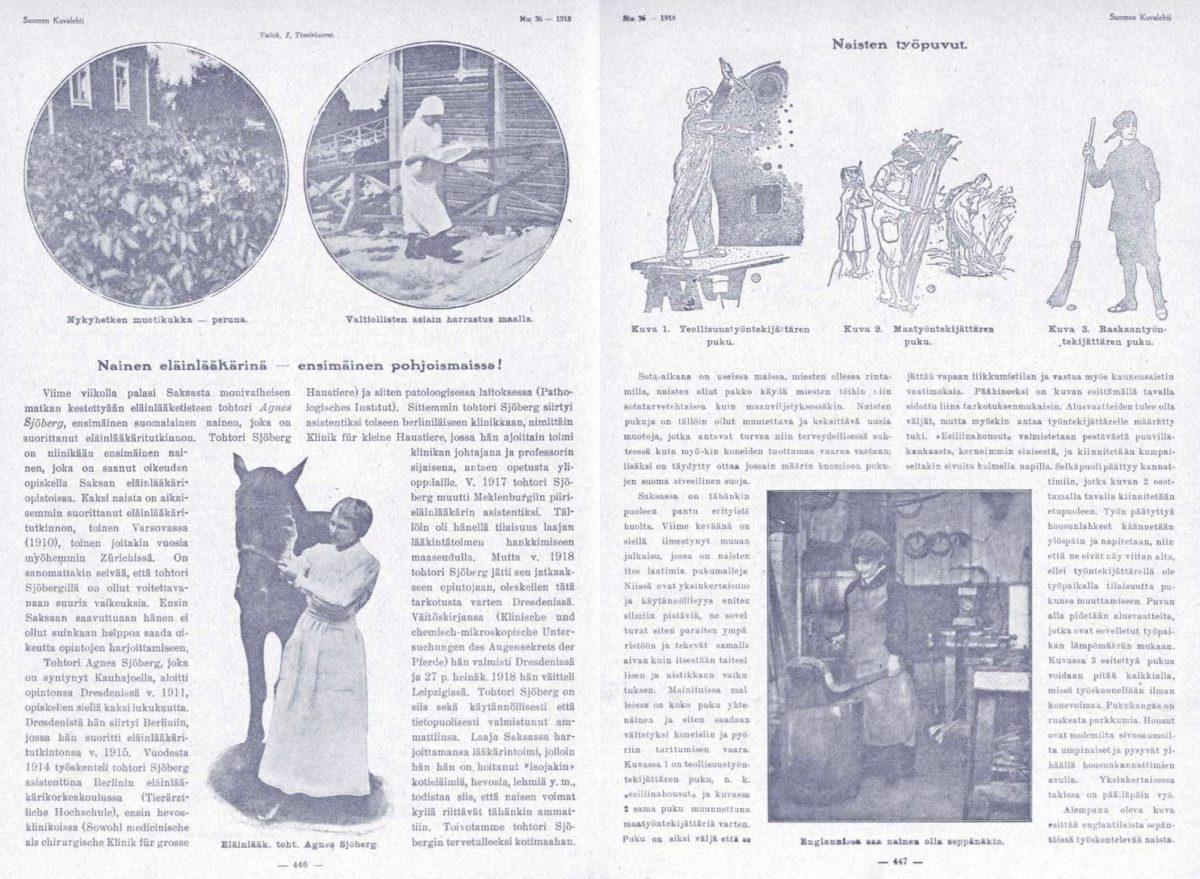 """SK 36/1918: """"Nainen eläinlääkärinä–ensimäinen pohjoismaissa!"""""""