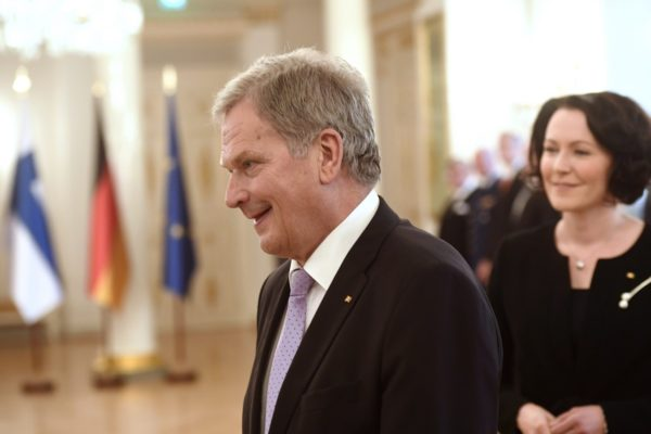 President Sauli Niinistö of Finland and wife Jenni Haukio during meeting with President of the Federal Republic of Germany at the Presidential Palace in Helsinki, Finland on September 17, 2018. President Steinmeier is in Finland on an official state visit. LEHTIKUVA / HEIKKI SAUKKOMAA