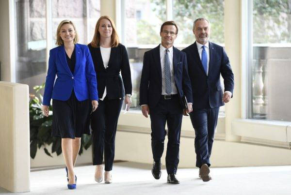 LON803; The Alliansen party leaders, from left, Ebba Busch Thor, Annie Loof, Ulf Kristersson, and Jan Bjorklund arrives for a press conference in the Swedish parliament in Stockholm, Wednesday Sept. 12, 2018. (Henrik Montgomery/TT via AP) AP / LEHTIKUVA / HENRIK MONTGOMERY