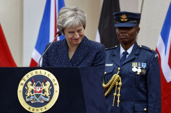 Britannian pääministeri Theresa May piti lehdistötilaisuutta Keniassa 30. elokuuta 2018.