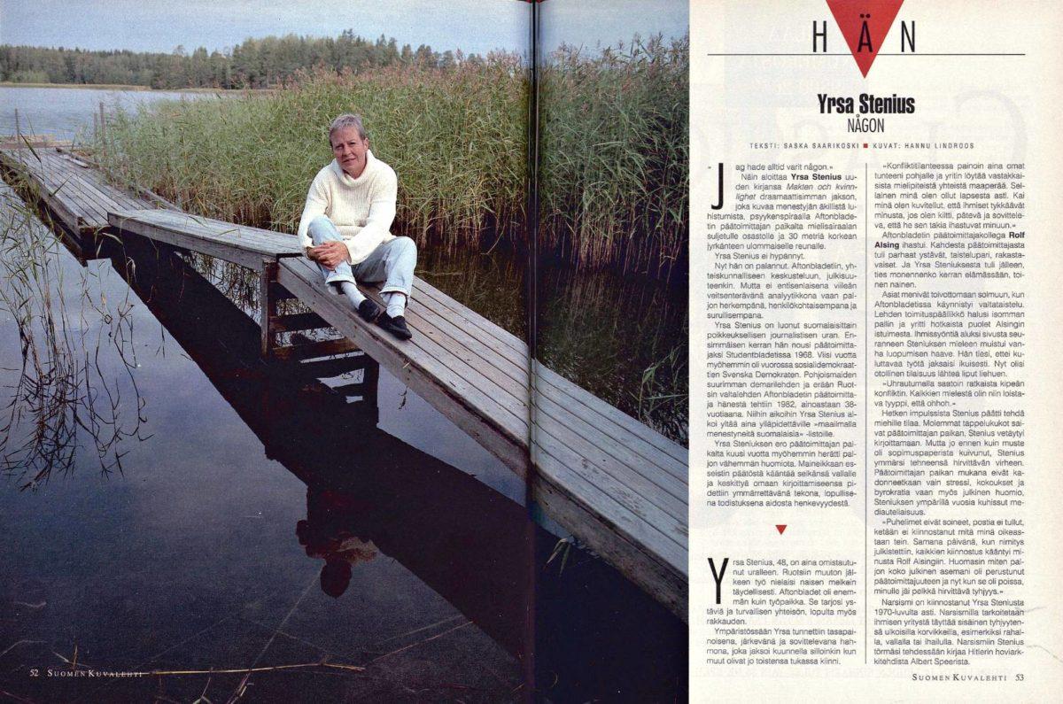 """SK 36/1993 (10.9.1993) Saska Saarikoski: """"Hän: Yrsa Stenius, någon"""" Kuva: Hannu Lindroos."""