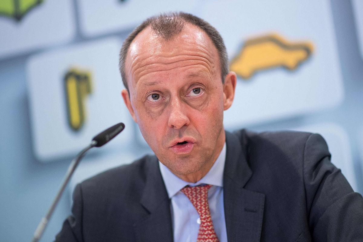 Friedrich Merz lehdistötilaisuudessa maaliskuussa 2018.