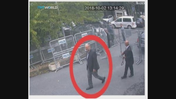 XLP109; This image taken from CCTV video obtained by the Turkish broadcaster TRT World and made available on Sunday, Oct. 21, 2018, purportedly showing Saudi journalist Jamal Khashoggi entering the Saudi consulate in Istanbul, Tuesday, Oct. 2, 2018.(CCTV/TRT World via AP) AP / LEHTIKUVA