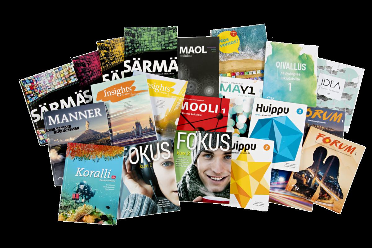 Lukioajan kirjat ja tietokone maksavat noin 2 500 euroa. Kuvassa on ensimmäisen lukiovuoden kirjoja.