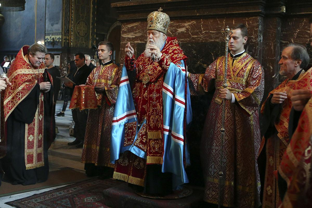 Ukrainan ortodoksikirkon johtaja patriarkka Filaret veti jumalanpalvelusta Kiovassa 11. lokakuuta 2018.