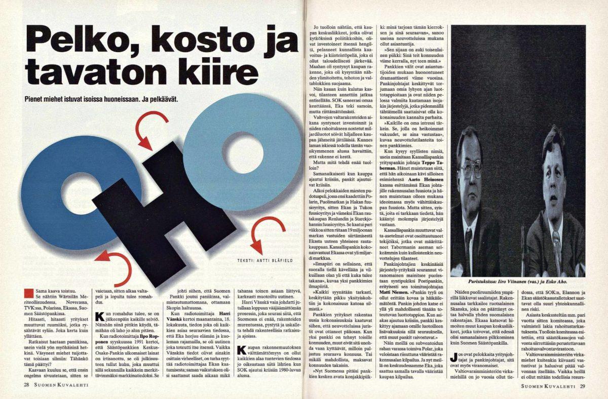 """SK 43/1993 (29.10.1993) Antti Blåfield: """"Pelko, kosto ja tavaton kiire"""""""
