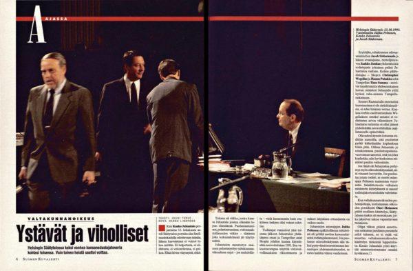 """SK 42/1993 (22.10.1993) Jouni Tervo: """"Ystävät ja viholliset"""" Kuva: Hannu Lindroos"""