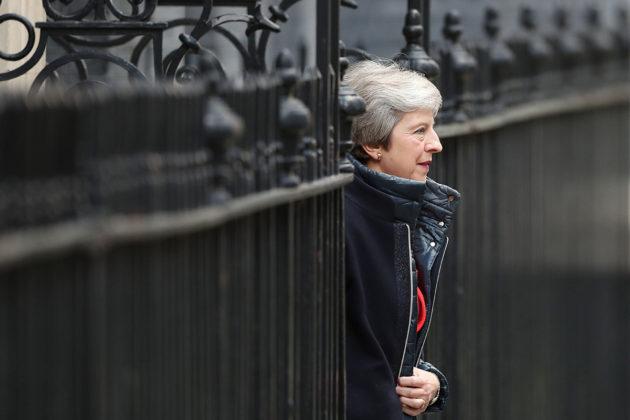 Pääministeri Theresa May poistui virka-asunnoltaan Lontoossa 29. lokakuuta 2018.