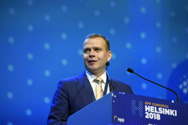 Kokoomuksen puheenjohtaja Petteri Orpo puhui Euroopan kansanpuolueen kokouksessa Helsingissä 8. marraskuuta 2018.