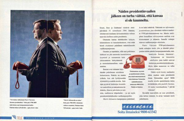 """SK 46/1993 (19.11.1993): """"Näiden presidentinvaalien jälkeen on turha väittää, että kansaa ei olisi kuunneltu."""" (mainos)"""