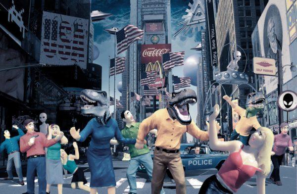 Yli 12 miljoonaa amerikkalaista uskoo liskoihmisten hallitsevan maailmaa. Yhdysvalloissa salaliitot ovat aina vaikuttaneet politiikkaan. Klaus Welpin kuvitus.