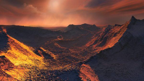 Kuvittajan näkemys jäätävän kylmästä ja maapalloa suuremmasta eksoplaneetasta.