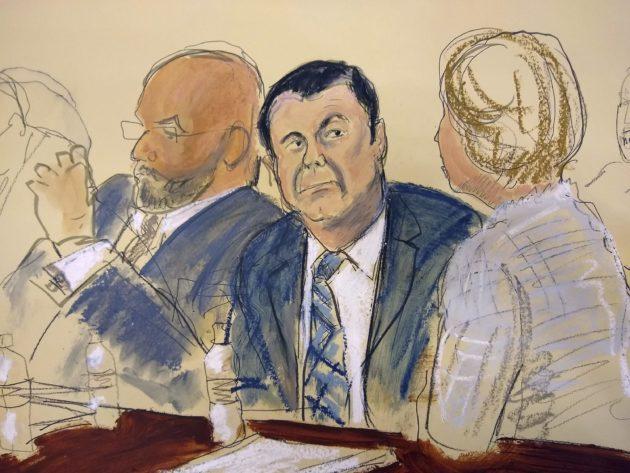 Oikeussalipiirtäjä ikuisti meksikolaisen huumekartellin entisen johtajan Joaquin Guzmanin oikeuden istunnossa 13. marraskuuta 2018.