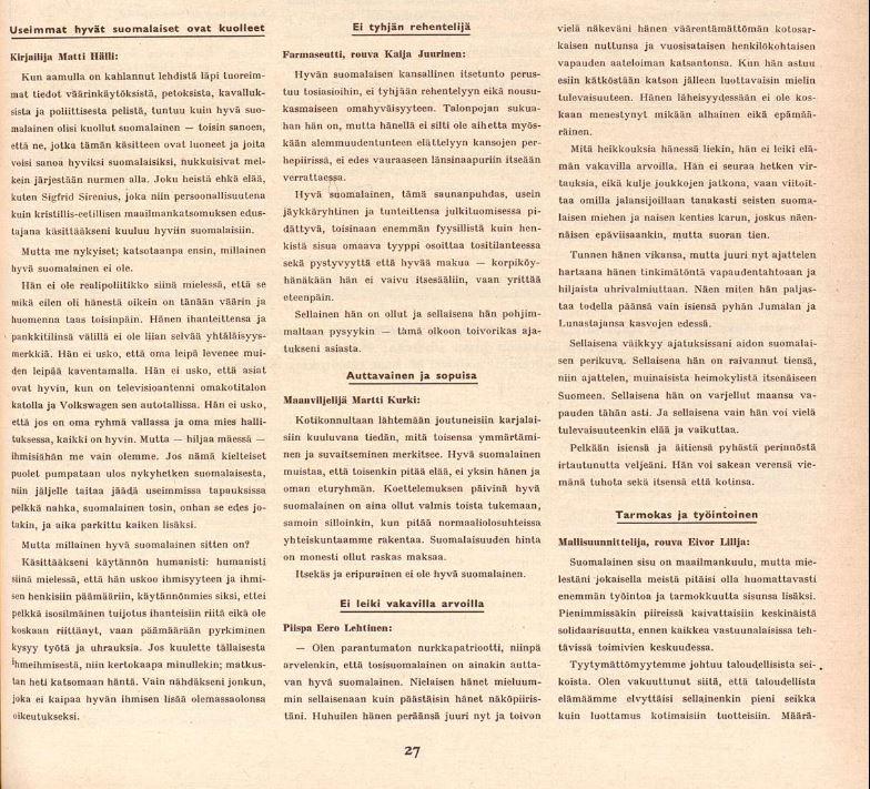 Suomen Kuvalehti 49/1958. Ruutukaappaus sivulta 27.