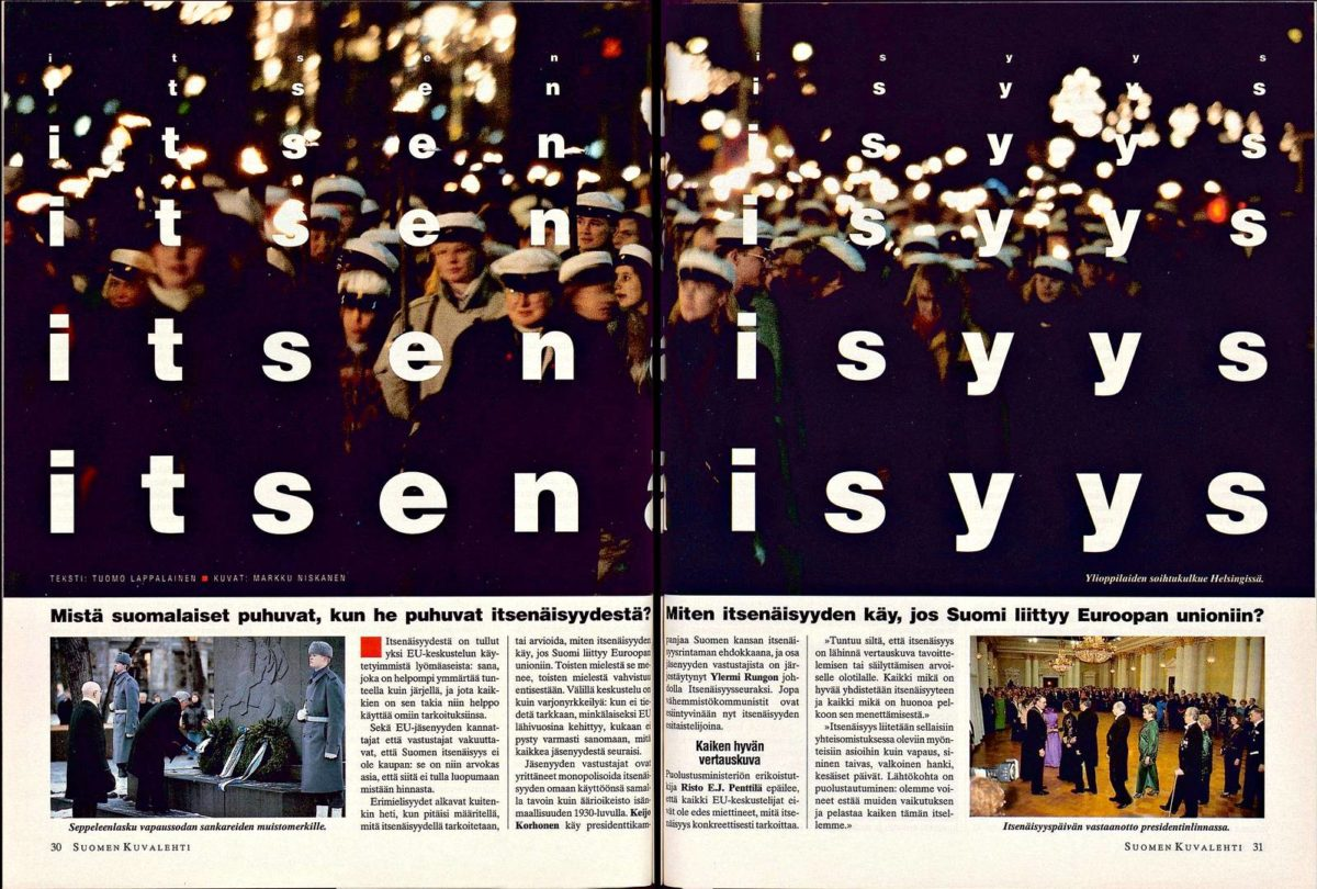 """SK 50/1993 (17.12.1993) Tuomo Lappalainen: """"Itsenäisyys"""" Kuvat: Markku Niskanen"""