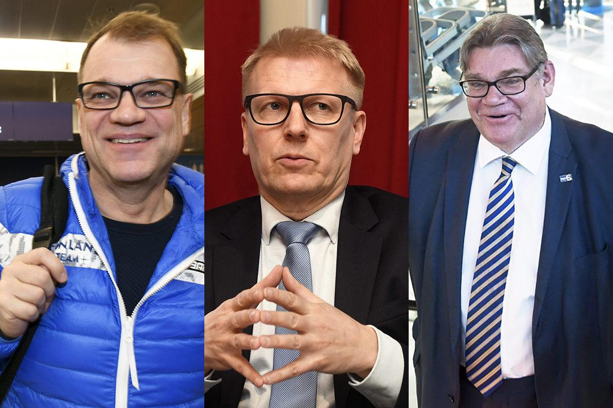 Kuvassa hallituksen ahkerimmat lentäjät pääministeri Juha Sipilä (kesk), ympäristöministeri Kimmo Tiilikainen (kesk) ja ulkoministeri Timo Soini (sin).