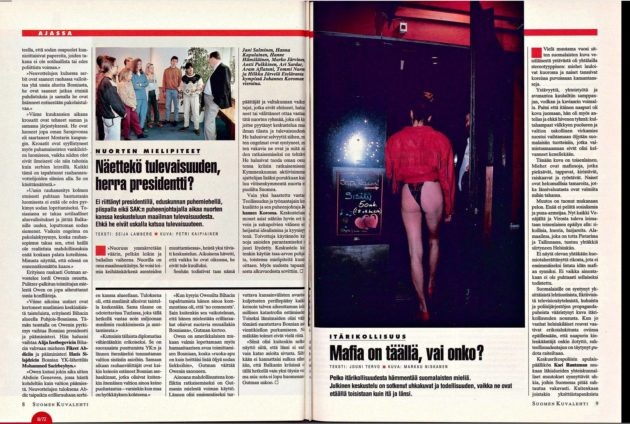 """SK 49/1993 (10.12.1993) Jouni Tervo: """"Mafia on täällä, vai onko?"""" Kuva: Markku Niskanen"""