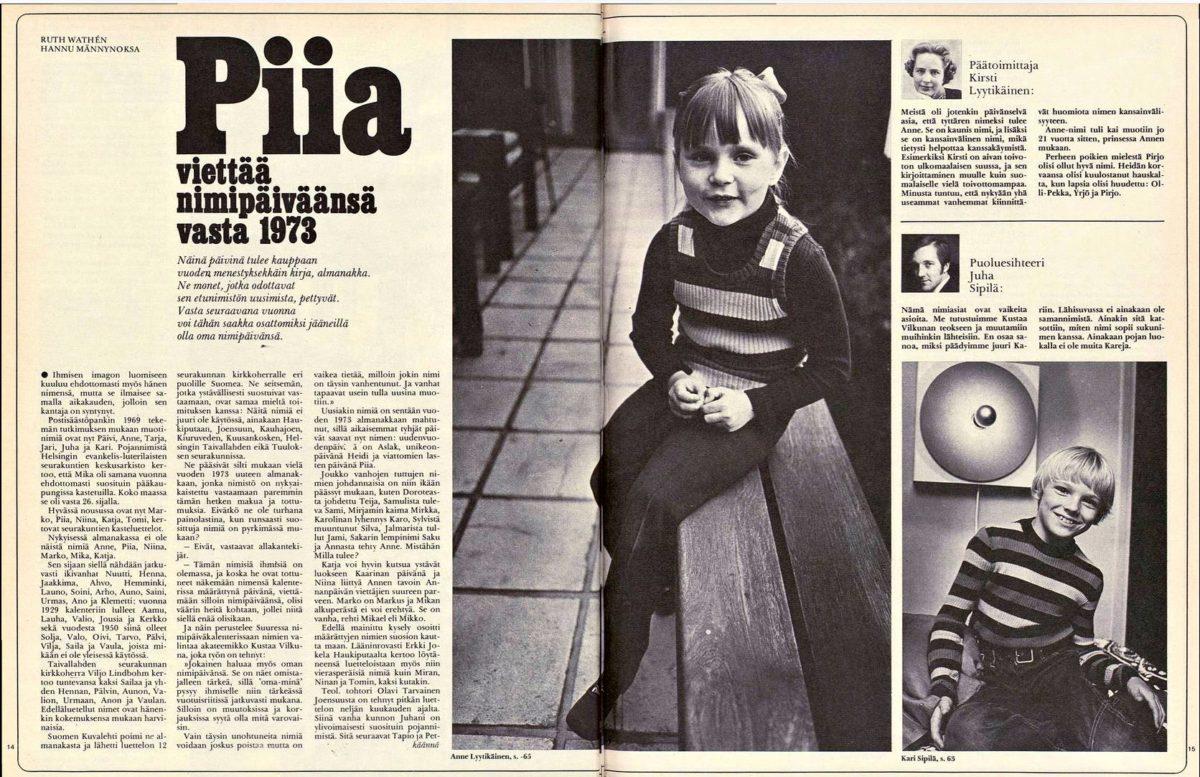 """SK 39/1971 (1.10.1971) Ruth Wathén: """"Piia viettää nimipäiväänsä vasta 1973"""""""