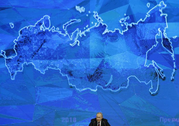 XSG148; Russian President Vladimir speaks during his annual news conference in Moscow, Russia, Thursday, Dec. 20, 2018. Speaking at news conference Thursday, Putin pointed at the U.S. intention to withdraw from the 1987 Intermediate-Range Nuclear Forces (INF) Treaty, saying if the U.S. puts intermediate-range missiles in Europe, Russia will be forced to take countermeasures. (AP Photo)