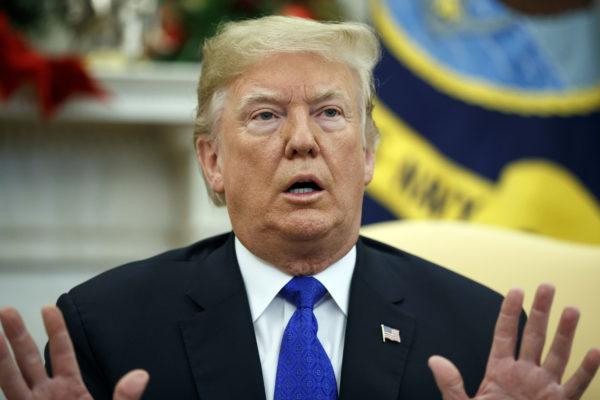 Donald Trump Valkoisessa talossa joulukuussa 2018.