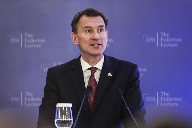 Britannian ulkoministeri Jeremy Hunt Singaporessa 2. tammikuuta 2019.