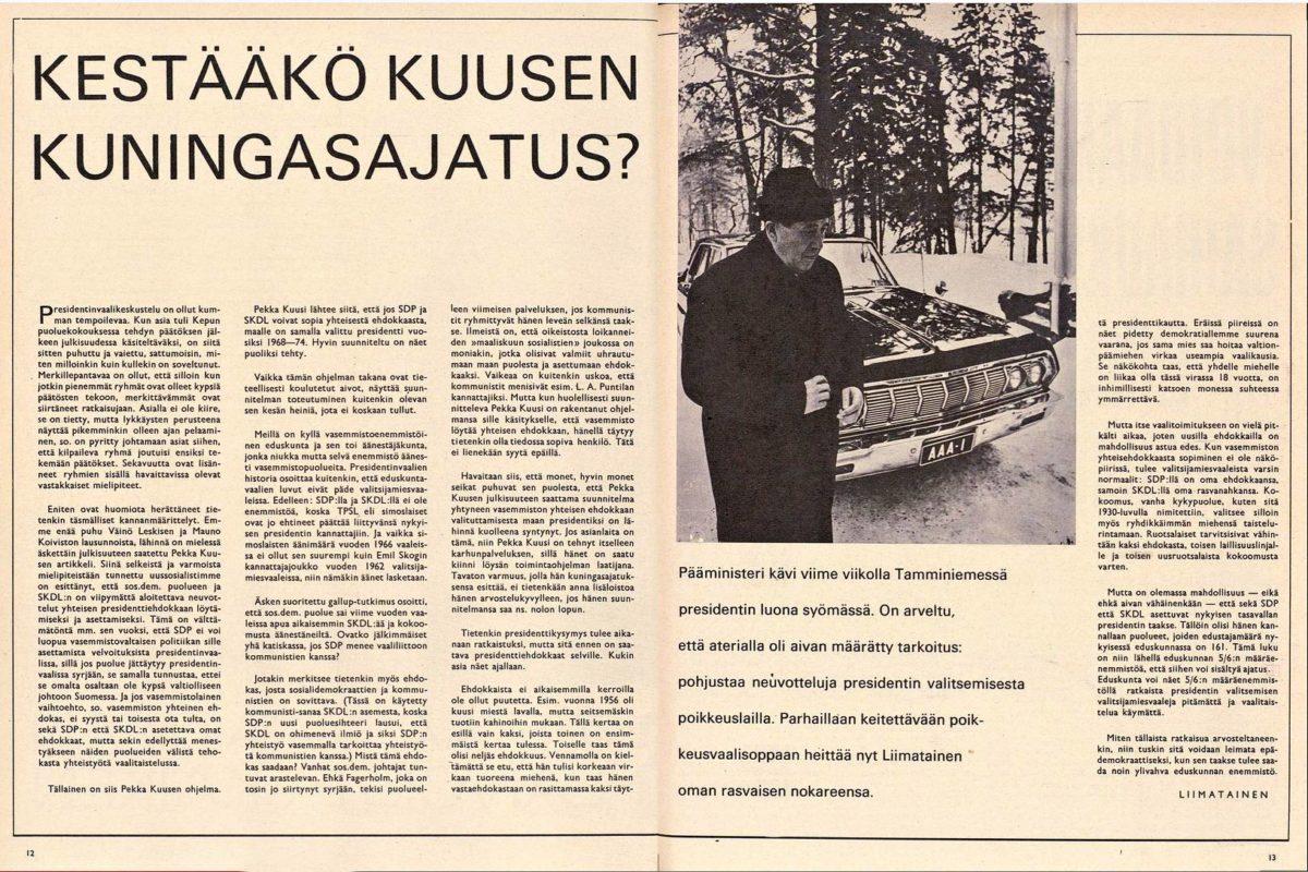 """SK 3/1967 (21.1.1967) Liimatainen (Urho Kekkonen): """"Kestääkö Kuusen kuningasajatus?"""""""