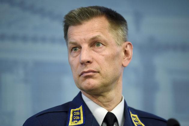 Ilmavoimien komentaja kenraalimajuri Sampo Eskelinen puolustusministeriön HX-hanketta käsittelevässä tiedotustilaisuudessa Helsingissä huhtikuussa 2018.