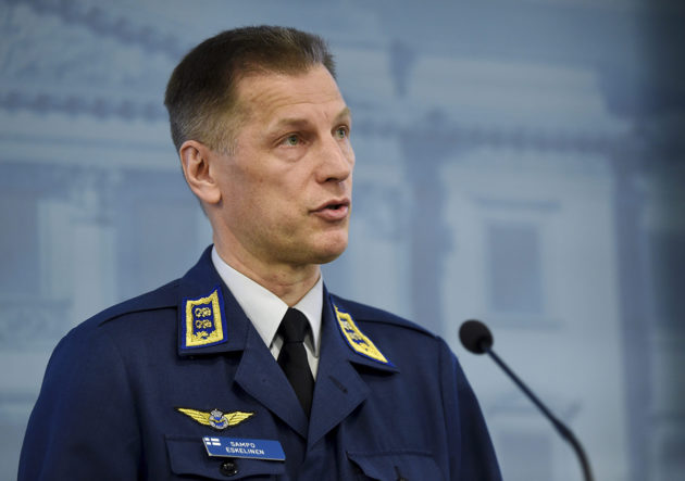 Ilmavoimien komentaja kenraalimajuri Sampo Eskelinen huhtikuussa 2018.