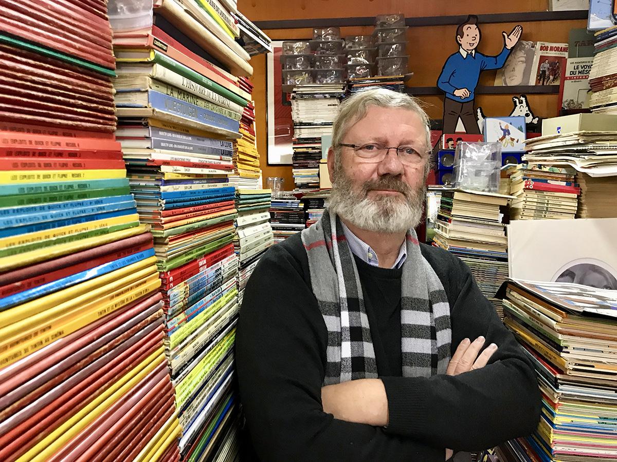 Brysseliläinen Gaetan Laloy on pitänyt Tinttiin erikoistunutta sarjakuvakauppaansa jo 34 vuotta.