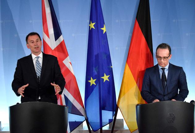 Britannian ulkoministeri Jeremy Hunt (vas.) ja Saksan ulkoministeri Heiko Maas Berliinissä 20. helmikuuta 2019.
