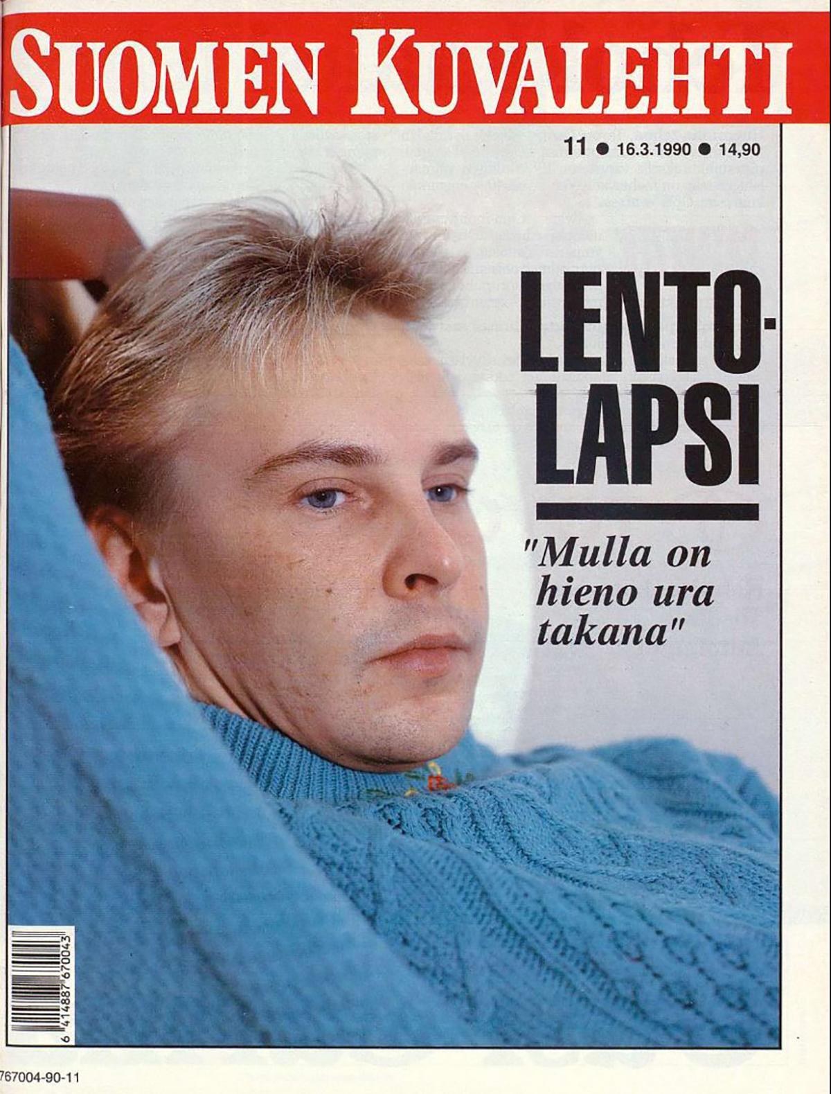 Matti Nykänen Suomen Kuvalehden kannessa numerossa 11/1990. Nykäsen kuvasi Hannu Lindroos.