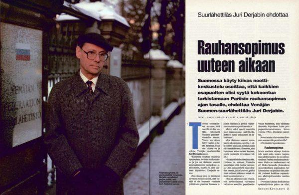 """SK 7/1994 (18.2.1994) Paavo Keisalo: """"Suurlähettiläs Juri Derjabin ehdottaa: Rauhansopimus uuteen aikaan"""" Kuva: Kimmo Räisänen"""