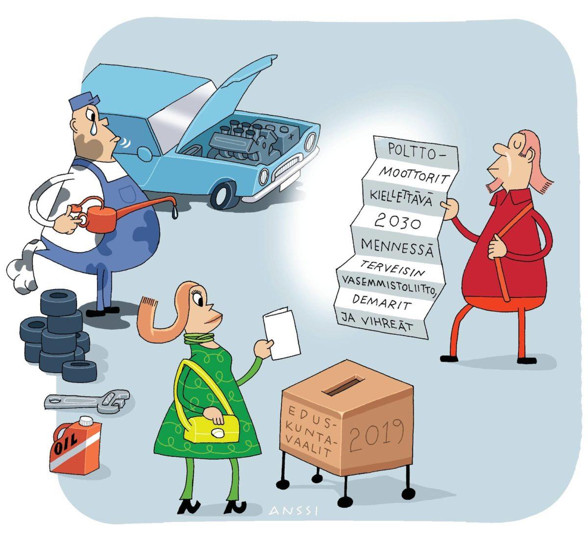 Suhtautuminen autoiluun jakaa puolueiden mielipiteitä. Anssi Keräsen kuvitus.