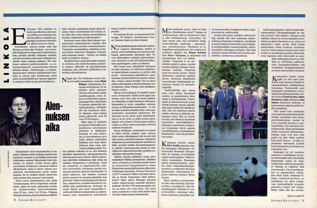 """SK 12/1994 (25.3.1994) Pentti Linkola: """"Alennuksen aika"""""""