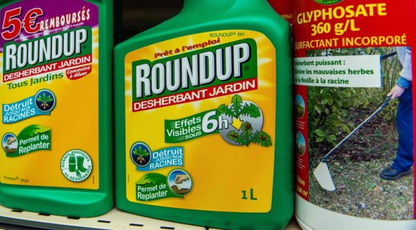 LKS 20190307 2973; (FILES) In this file photo taken on June 15, 2015 bottles of Monsanto's Roundup pesticide are pictured in a gardening store in Lille, as a French court in Lyon cancelled on January 15, 2019 the authorisation to sell Monsanto's Roundup Pro 360, a grass killer containing glyphosate. LEHTIKUVA / AFP Philippe Huguen