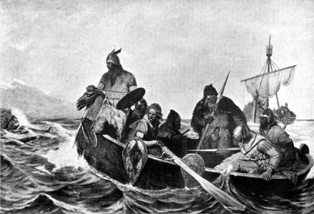 Taidemaalari Oscar Wergelandin teos viikinkien rantautumisesta Islantiin.