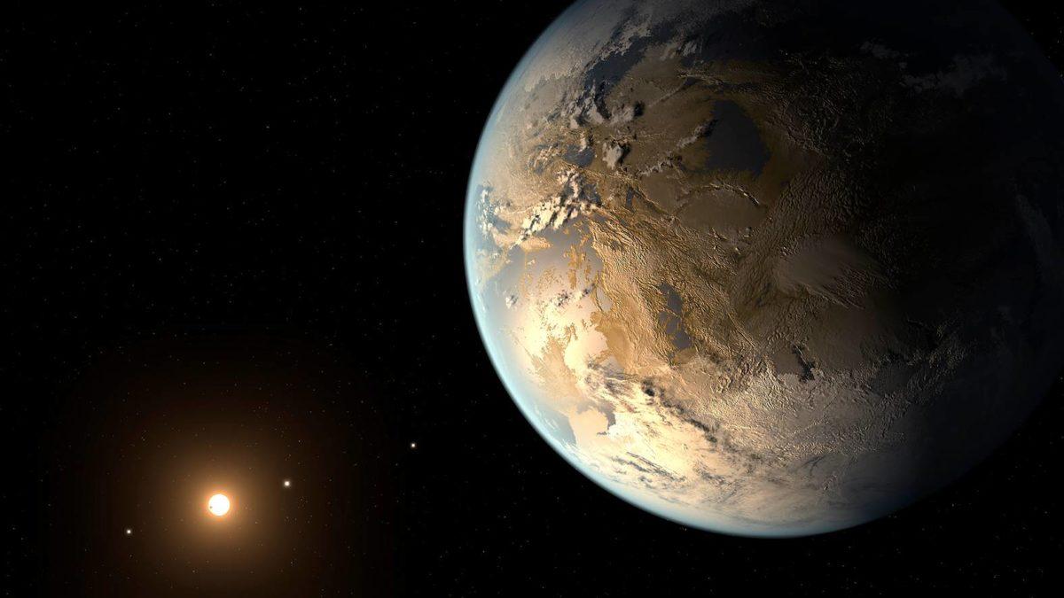 Taiteilijan näkemys Kepler-186f-eksoplaneetasta.
