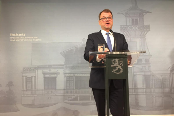 Juha Sipilä kertoi hallituksensa erosta tiedotustilaisuudessa Kesärannassa 8. maaliskuuta 2019.