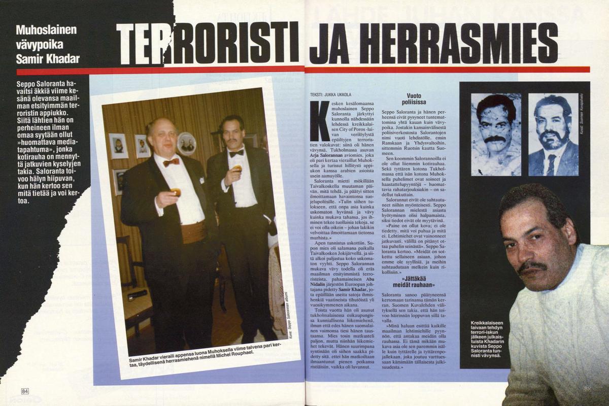 """Suomen Kuvalehti 15/1989 (14.4.1989) Jukka Ukkola: """"Muhoslainen vävypoika Samir Khadar–Terroristi ja herrasmies"""""""