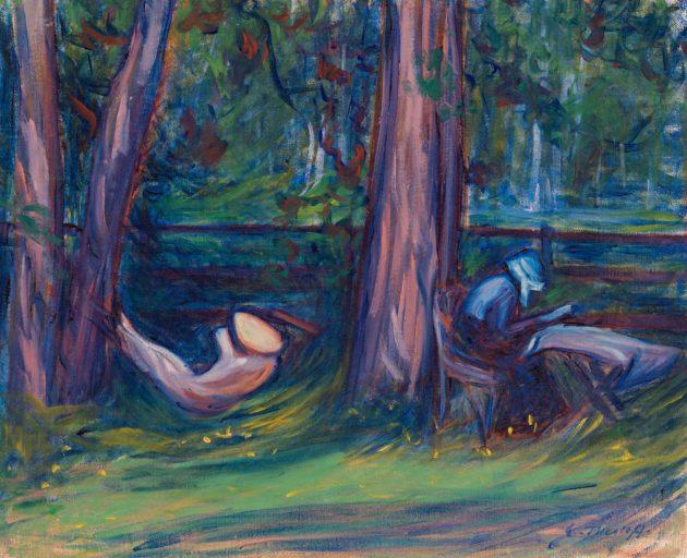 Lukuhetki (1906) syntyi Muroleessa. Malleina olivat sisar Gerda Thesleff ja ystävä Sigrid Schauman.