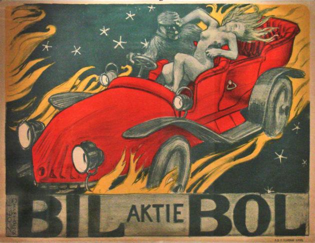 Akseli Gallen-Kallelan automainoslitografia Bil-Bol vuodelta 1907.
