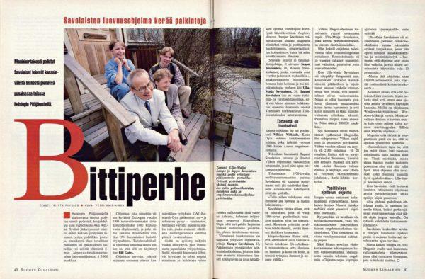"""SK 18/1994 (6.5.1994) Riitta Pyysalo: """"Bittiperhe – Savolaisten luovuusohjelma kerää palkintoja"""" Kuva: Petri Kaipiainen"""